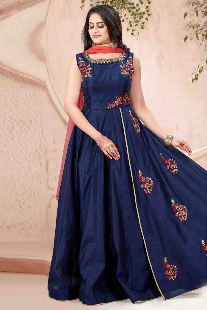 Navy Blue Charnderi Anarkali
