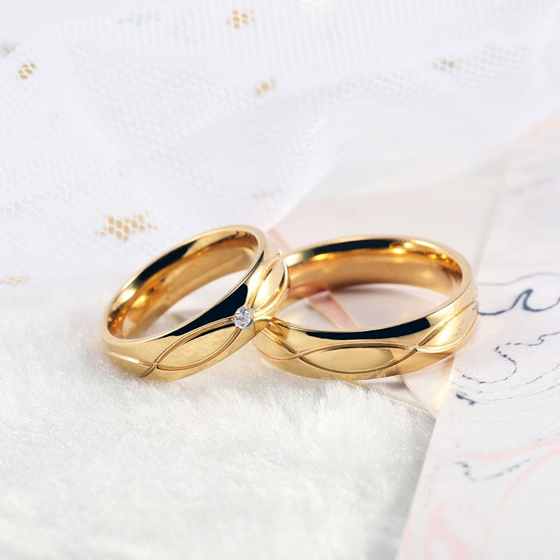 Stainless Steel/Titanium Steel Cz Rings Couple Rings Set