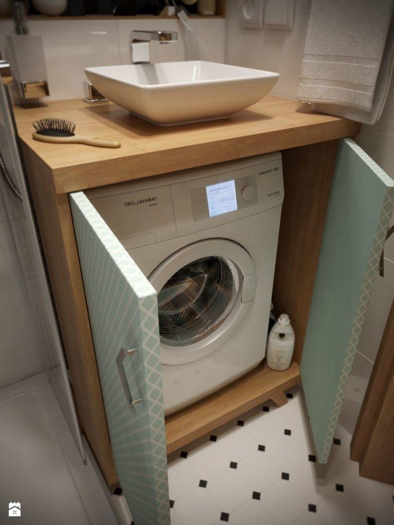 A sink above a washing machine