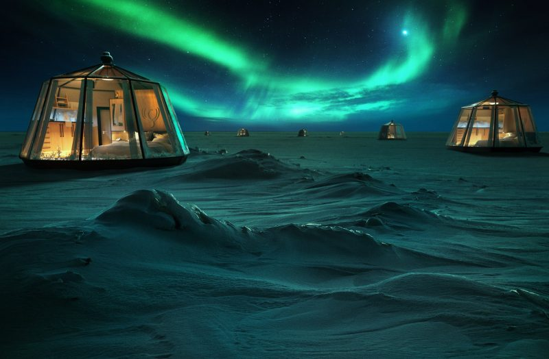 Antarctica in an igloo isolated