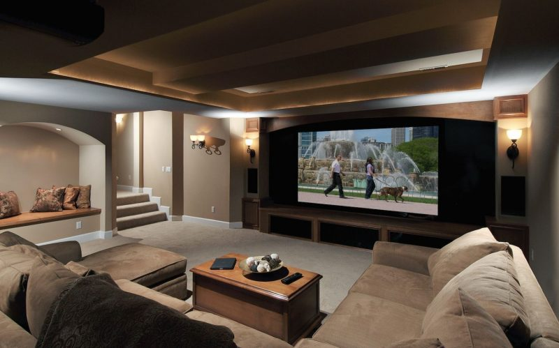 A Basement Theater With Seating Zones