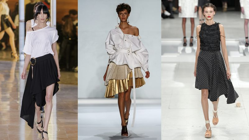 The blouses with the long asymmetrical skirt