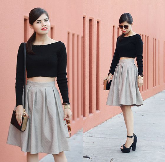 chic crop top with a flared skirt